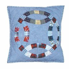 Denim Double Wedding Ring Toss Pillow
