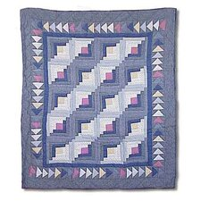Sail Log Cabin Cotton Throw Quilt