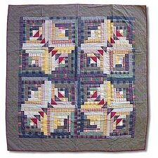 <strong>Patch Magic</strong> Wild Goose Log Cabin Cotton Throw Quilt