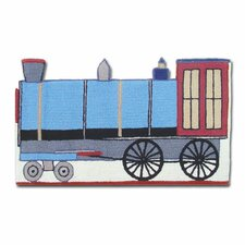 Train Blue Kids Rug