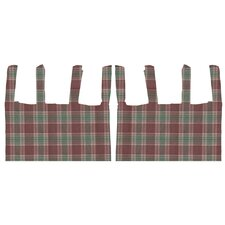 Brown and Green Plaid Cotton Tab Top Bed Curtain Single Panel