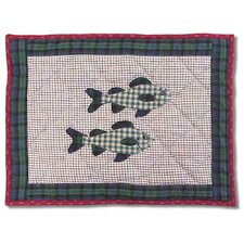 Cabin and Fish Crib Toss Pillow