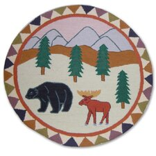 "Mountain Whispers 36"" Round Novelty Rug"