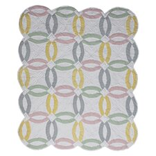 <strong>Patch Magic</strong> Pastel Double Wedding Ring Cotton Throw