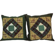 <strong>Patch Magic</strong> Square Diamond Cotton Pillow (Set of 2)