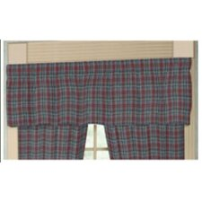 Burgundy and Blue Plaid Rod Pocket Curtain Valance