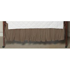 Multi Brown and Tan Plaid Fabric Crib Dust Ruffle