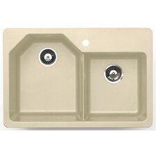 "33"" x 22"" Arion Granite ROK Double Bowl Kitchen Sink"