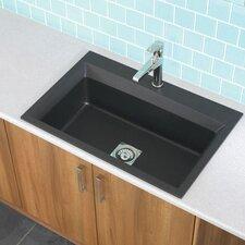 """33"""" x 22"""" Workcenter Granite ROK Single Bowl Kitchen Sink"""