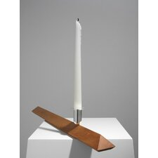 <strong>Designfenzider</strong> No.3 Cherry Wood, Silver Plated Aluminum Candlestick Holder