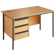 Maestro Straight H Frame Computer Desk with Fixed Pedestal