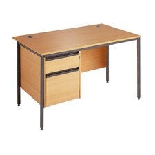 Maestro Straight H Frame Desk with Drawer Fixed Pedestal