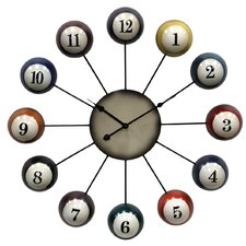 "Oversized 25"" Pool Cue Ball Wall Clock"