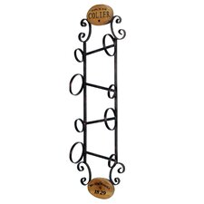 <strong>Style Craft</strong> 4 Bottle Wall Wine Rack with Wood Accents