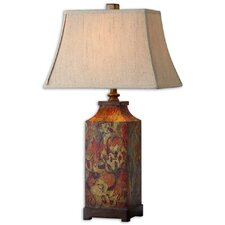 "Colorful Flowers 32"" H Table Lamp with Rectangle Shade"