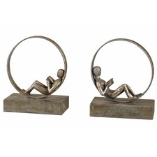 2 Piece Lounging Reader Sculpture Set