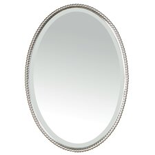 Sherise Beaded Oval Mirror in Brushed Nickel