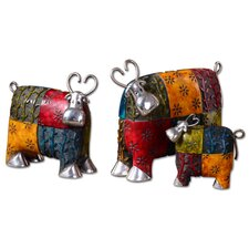 3 Piece Colorful Cows Accessories Statue Set