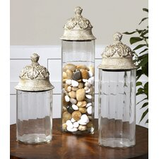 Acorn 3 Piece Glass Cylinder Canister Set