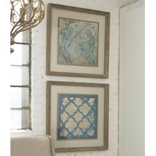 Stained Glass Indigo 2 Piece Framed Painting Print Set