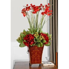 Red Freesia in English Tole Planter