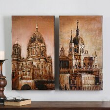 Antique Architecture 2 Piece Original Painting on Canvas Set