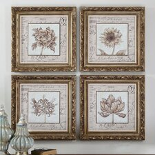 4 Piece French Florals Framed Wall Art Set