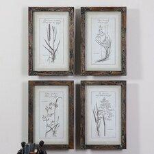 Grasses 4 Piece Framed Painting Print Set