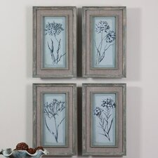 Aqua Flowers 4 Piece Framed Painting Print Set