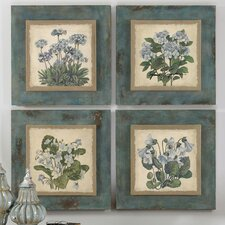 4 Piece Florals in Blue Wall Art Set