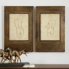 Bronze Figures 2 Piece Framed Painting Print Set