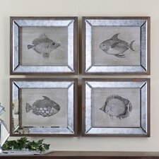 Mirrored Fish 4 Piece Framed Art Set