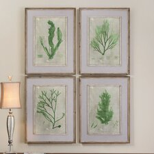 Emerald Seaweed 4 Piece Framed Art Set