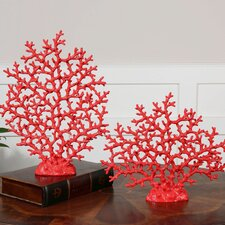 2 Piece Coral Sculpture Set