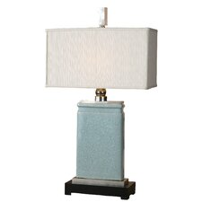 "Porcelain Azure 33"" H Table Lamp with Rectangular Shade"