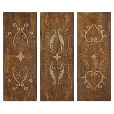 Elegant Swirl Panel Wall Art in Antique Glaze (Set of 3)