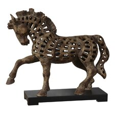 Prancing Horse Sculpture in Heavily Antiqued Textured Ivory