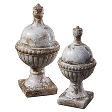 2 Piece Sini Finial Sculpture Set