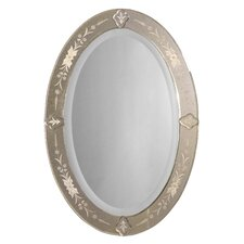 Donna Antique Oval Mirror with Etched Beveled Frame