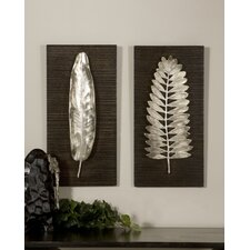 Silver Leave Wall Plaque (Set of 2)