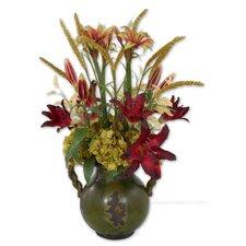 Daylilies In Tuscan Urn Vase