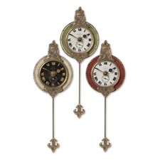 "4"" Weathered Wall Clock (Set of 3)"