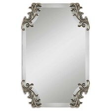 Andretta Beveled Mirror in Antiqued Silver
