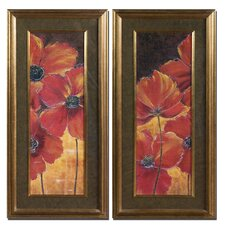 Midnight Poppy 2 Piece Framed Painting Print Set