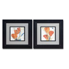 Red Grandiflorum 2 Piece Framed Painting Print Set