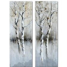 2 Piece Birch Tree Panel Wall Art Set