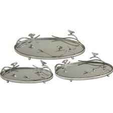 Birds 3 Piece Limb Oval Serving Tray
