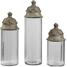 3 Piece Acorn Cylinder Decorative Canister Set