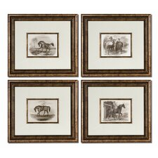 Horses 4 Piece Framed Painting Print Set