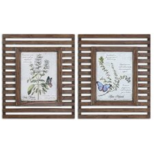 Herbs & Butterflies 2 Piece Framed Painting Print Set